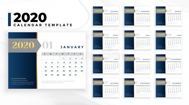 Elégant modèle professionnel de conception de calendrier professionnel 2020 illustration stock