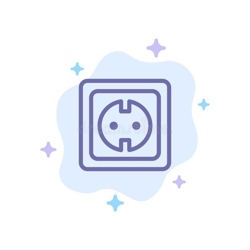 Elétrico, energia, tomada, fonte de alimentação, ícone azul do soquete no fundo abstrato da nuvem ilustração royalty free