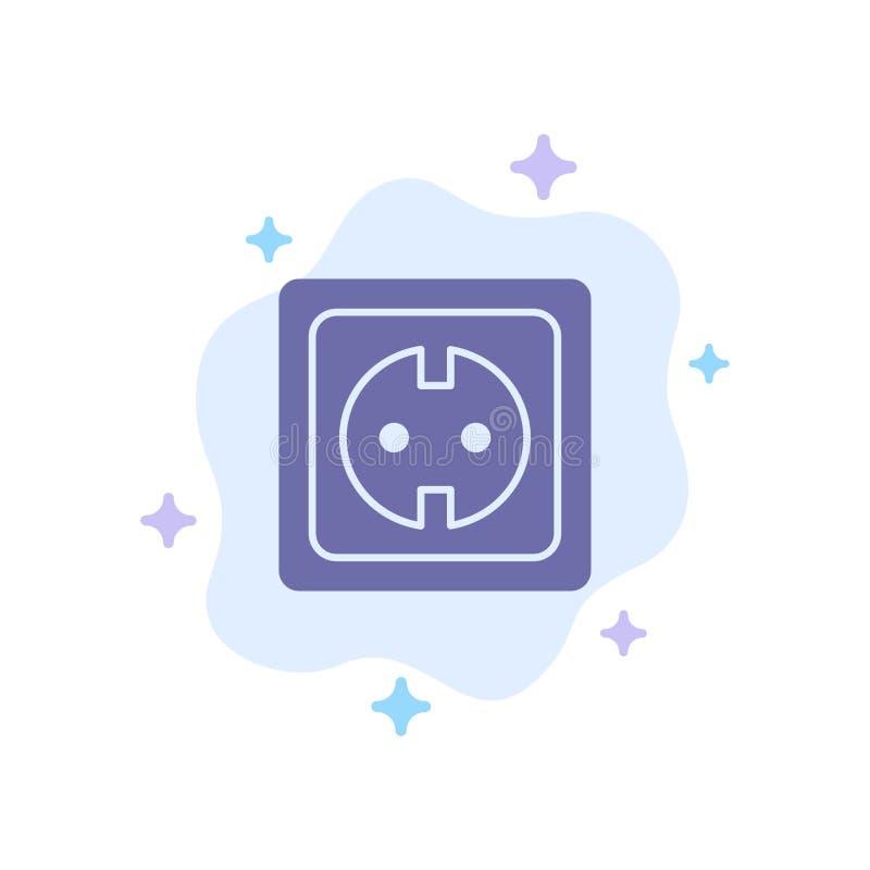 Elétrico, energia, tomada, fonte de alimentação, ícone azul do soquete no fundo abstrato da nuvem ilustração stock