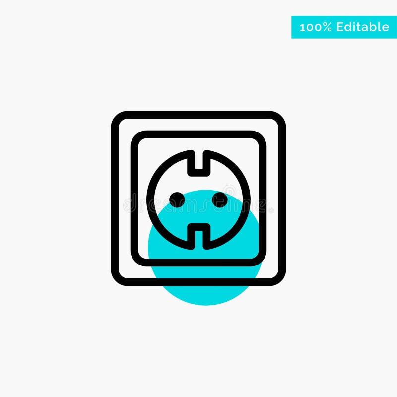 Elétrico, energia, tomada, fonte de alimentação, ícone do vetor do ponto do círculo do destaque de turquesa do soquete ilustração stock