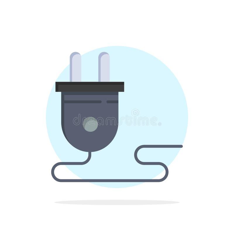 Elétrico, energia, tomada, fonte de alimentação, ícone liso da cor do fundo abstrato do círculo ilustração stock