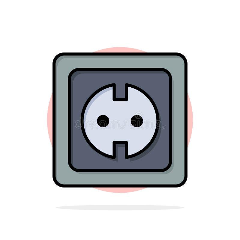 Elétrico, energia, tomada, fonte de alimentação, ícone liso da cor do fundo do círculo do sumário do soquete ilustração stock