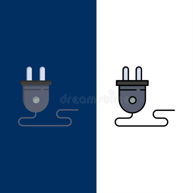 Elétrico, energia, tomada, fonte de alimentação, ícones O plano e a linha ícone enchido ajustaram o fundo azul do vetor ilustração royalty free
