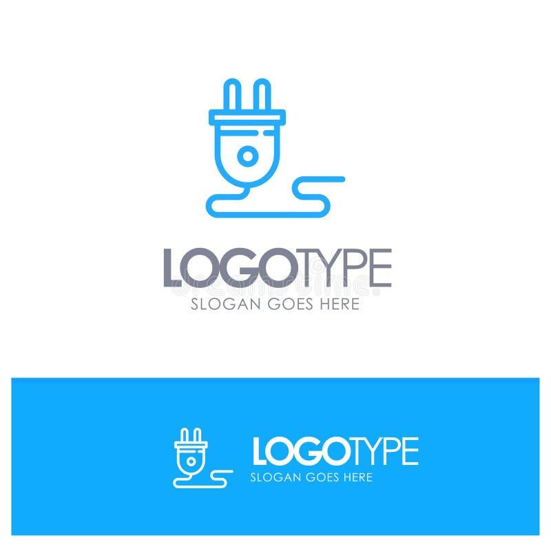 Elétrico, energia, tomada, fonte de alimentação, esboço azul Logo Place para o Tagline ilustração royalty free