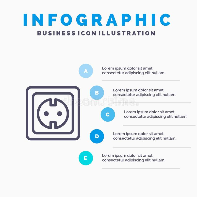 Elétrico, energia, tomada, fonte de alimentação, linha ícone do soquete com fundo do infographics da apresentação de 5 etapas ilustração royalty free
