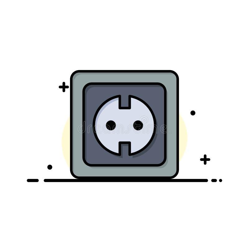 Elétrico, energia, tomada, fonte de alimentação, linha lisa do negócio do soquete encheu o molde da bandeira do vetor do ícone ilustração stock