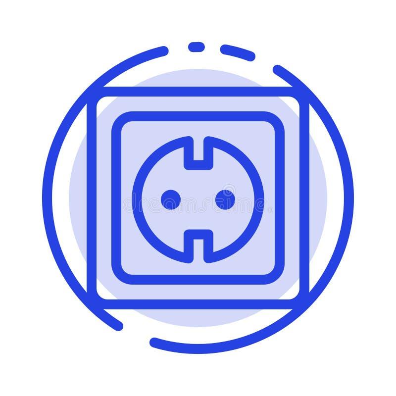 Elétrico, energia, tomada, fonte de alimentação, linha pontilhada azul linha ícone do soquete ilustração royalty free