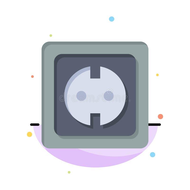 Elétrico, energia, tomada, fonte de alimentação, negócio Logo Template do soquete cor lisa ilustração stock