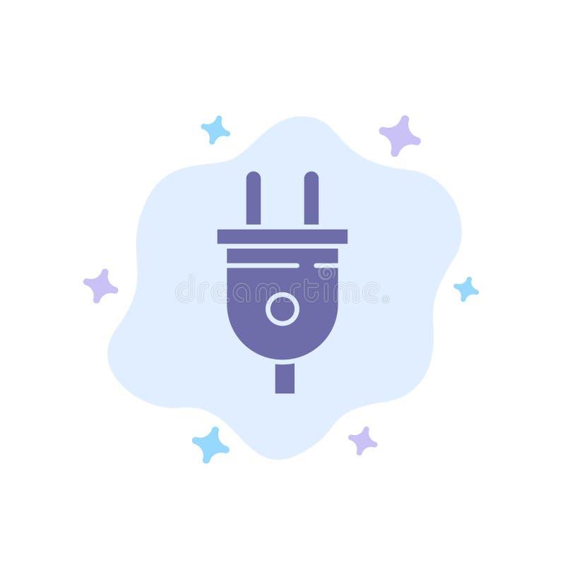 Elétrico, tomada, poder, ícone azul da tomada de poder no fundo abstrato da nuvem ilustração royalty free