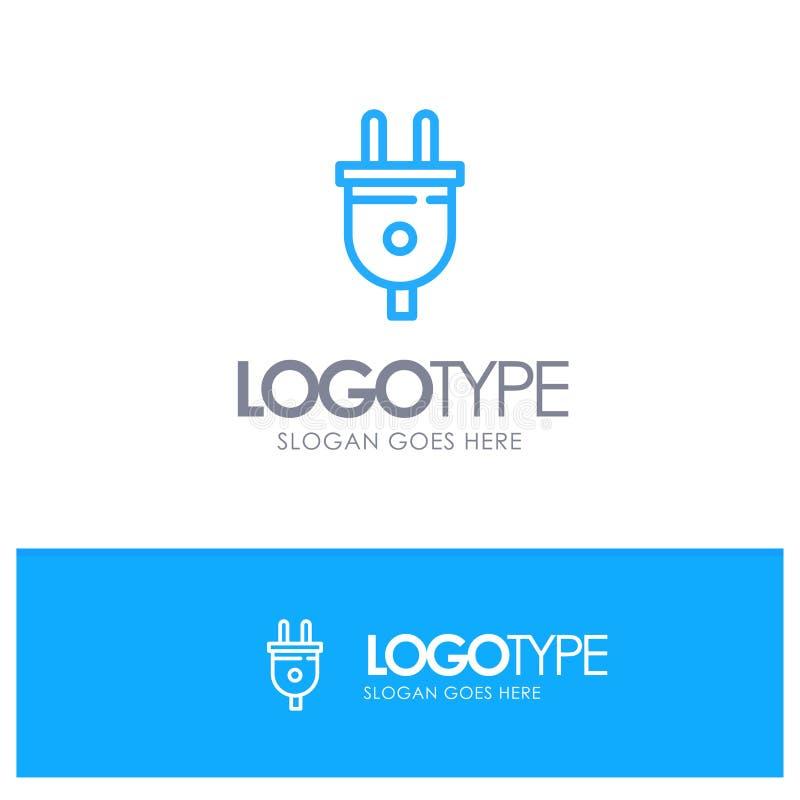 Elétrico, tomada, poder, tomada de poder Logo Line Style azul ilustração stock
