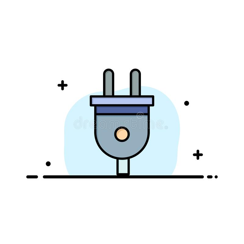 Elétrico, tomada, poder, negócio Logo Template da tomada de poder cor lisa ilustração royalty free