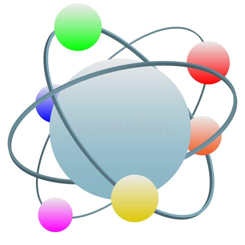 Elétrons coloridos do símbolo do átomo da tecnologia na órbita ilustração do vetor