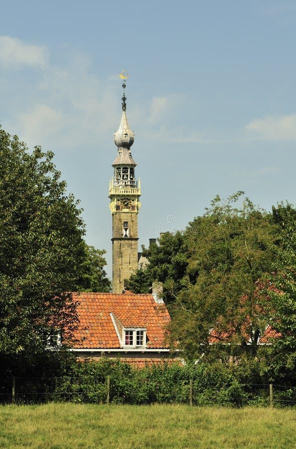 Elévese del ayuntamiento de la ciudad de Veere fotos de archivo libres de regalías