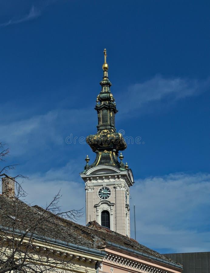 Elévese en catedral ortodoxa en la calle de Pasiceva, Novi Sad, Serbia fotos de archivo