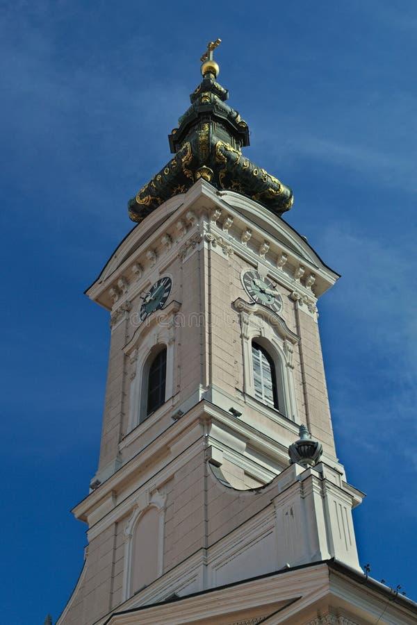 Elévese en catedral ortodoxa en la calle de Pasiceva, Novi Sad, Serbia fotografía de archivo