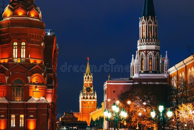 Elévese en Plaza Roja en Moscú, Rusia en el invierno fotos de archivo libres de regalías