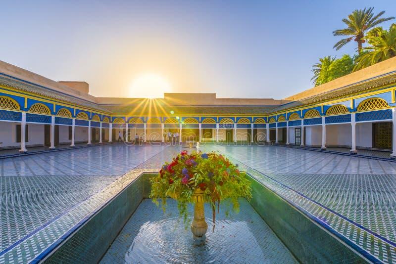 El巴伊亚宫殿的,马拉喀什庭院 免版税库存图片