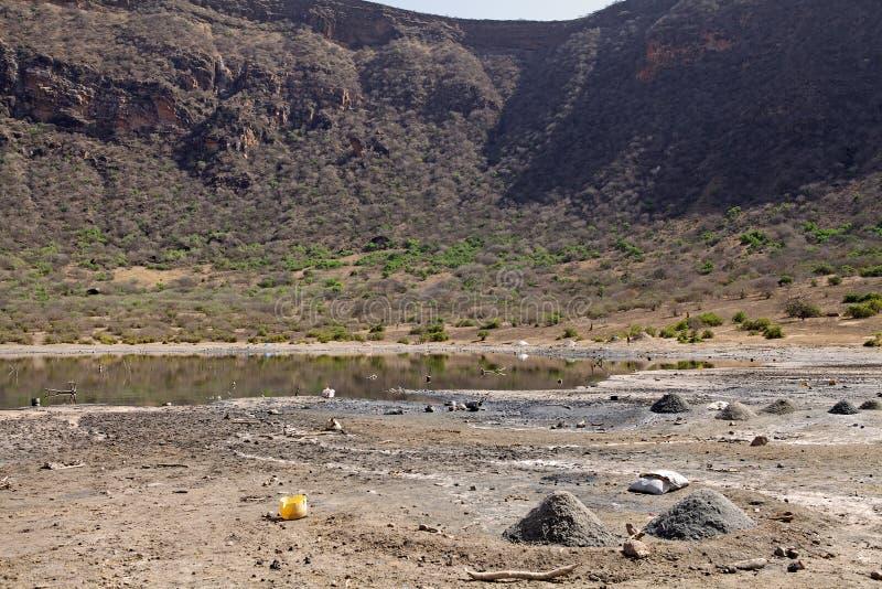 El草皮火山口湖埃塞俄比亚 免版税库存照片