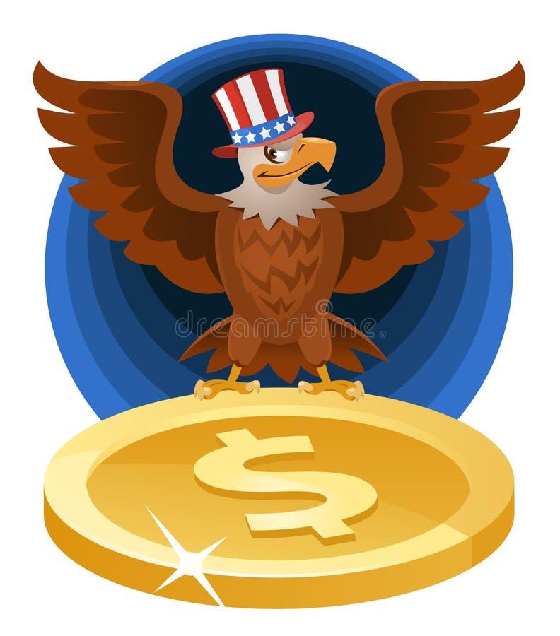 El águila calva americana en el sombrero patriótico separó las alas sobre el s libre illustration