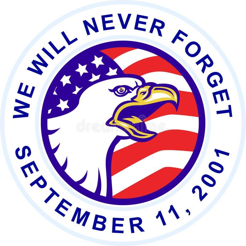 El águila calva americana que grita con los E.E.U.U. señala 9-11 por medio de una bandera libre illustration