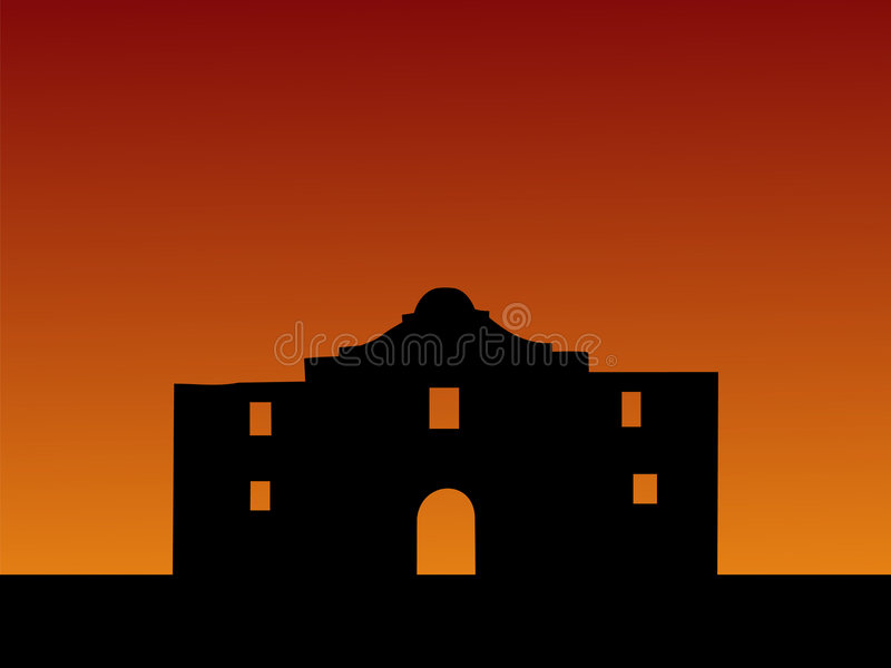 El Álamo en la puesta del sol stock de ilustración