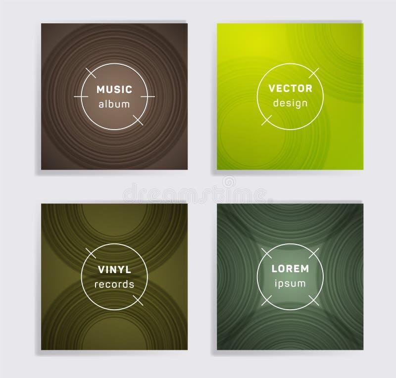 El álbum abstracto de la música de los discos de vinilo cubre el sistema stock de ilustración