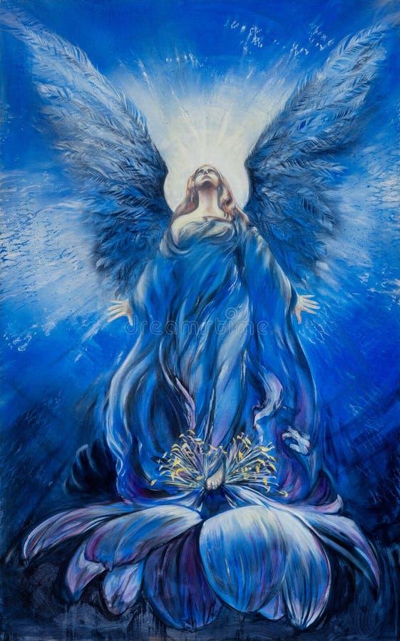 El ?ngel azul majestuoso del amor mira para arriba en la resplandor al cielo divino ilustración del vector