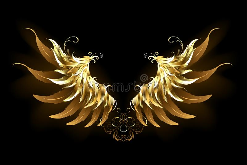 El ángel brillante se va volando las alas de oro stock de ilustración