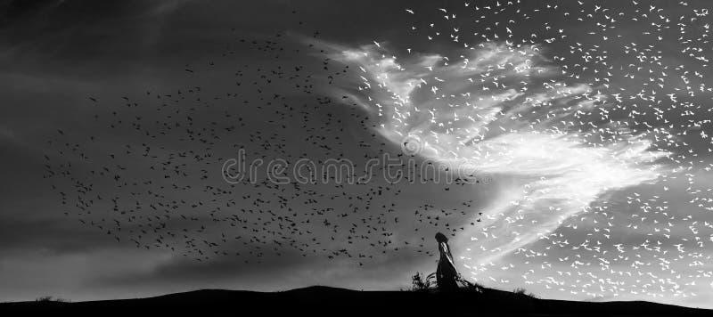 El ángel de la luz del día proscribe noche foto de archivo libre de regalías