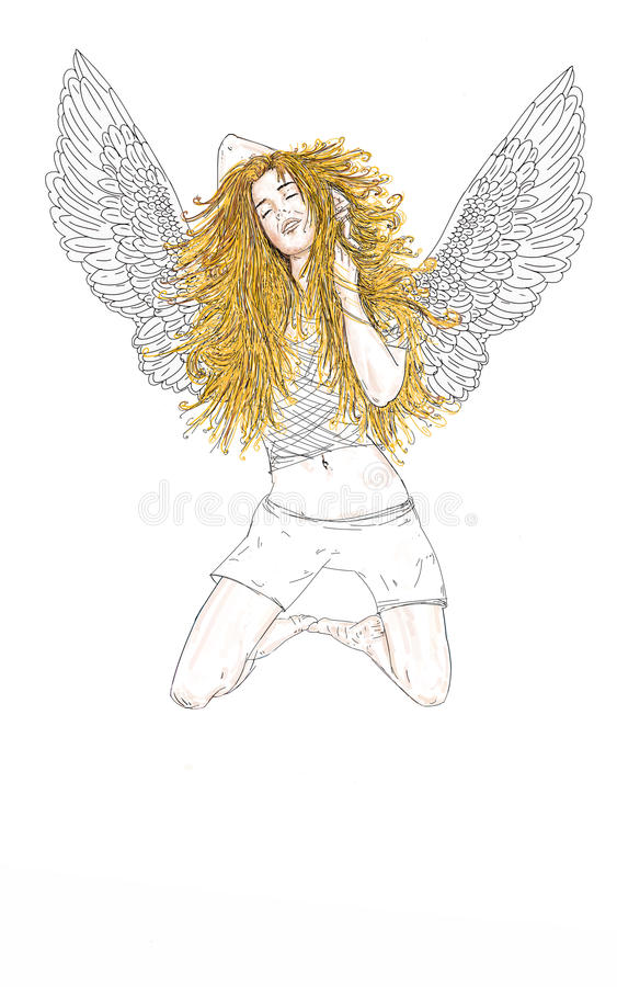 El ángel de la mujer con la religión larga del pelo rubio libre illustration