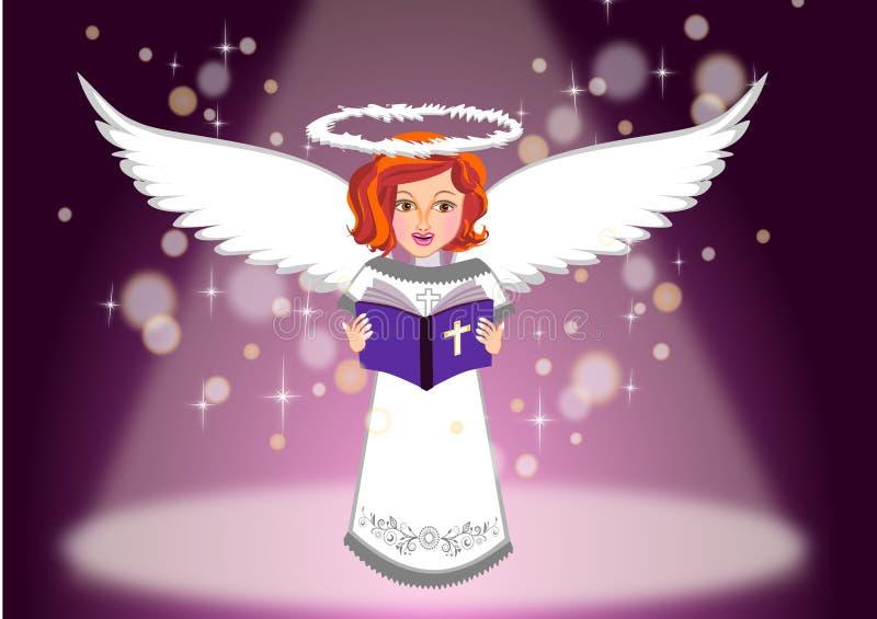 El ángel de los niños leyó el ejemplo de la Sagrada Biblia stock de ilustración