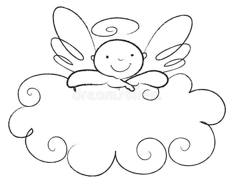 El ángel del bebé se inclina en una nube libre illustration