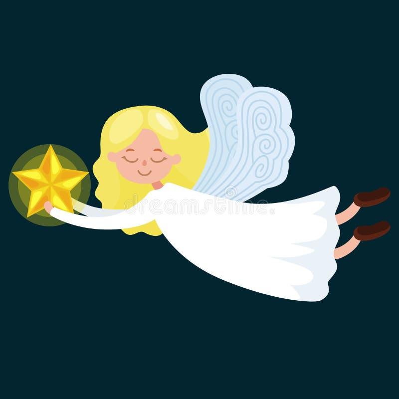 El ángel del vuelo del día de fiesta de la Navidad con las alas y la trompeta de oro les gusta símbolo en vector de la religión c stock de ilustración