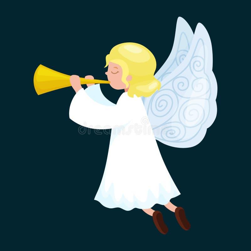 El ángel del vuelo del día de fiesta de la Navidad con las alas y la trompeta de oro les gusta símbolo en vector de la religión c ilustración del vector