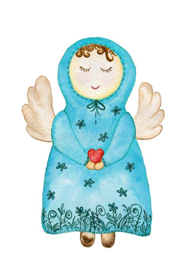 El ángel en un vestido azul con una capilla está llevando a cabo un corazón ilustración del vector