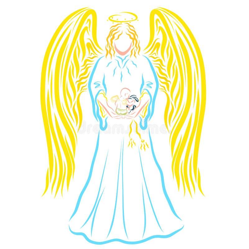 El ángel majestuoso está deteniendo a un bebé con alas con una liebre de la felpa stock de ilustración