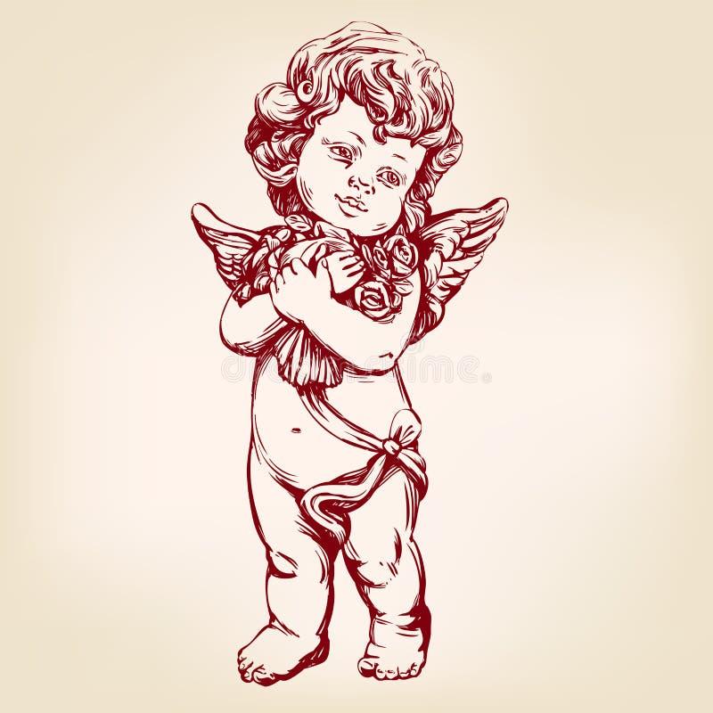 El ángel o el cupido, pequeño bebé sostiene un ramo de flores, bosquejo realista dibujado mano del ejemplo del vector de la tarje stock de ilustración