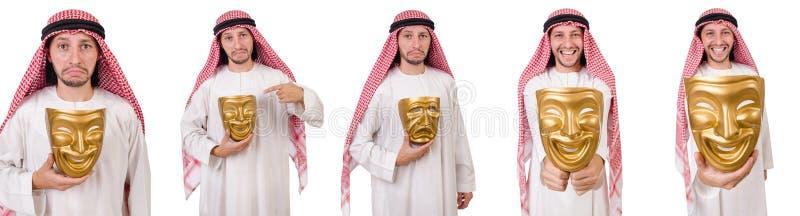 El árabe en concepto de la hipocresía en blanco foto de archivo