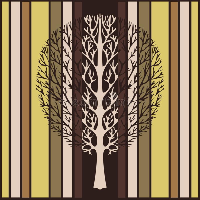 El árbol abstracto, ejemplo del vector, vintage estilizó el dibujo Árbol adornado con las ramas contra la perspectiva de verde, d ilustración del vector