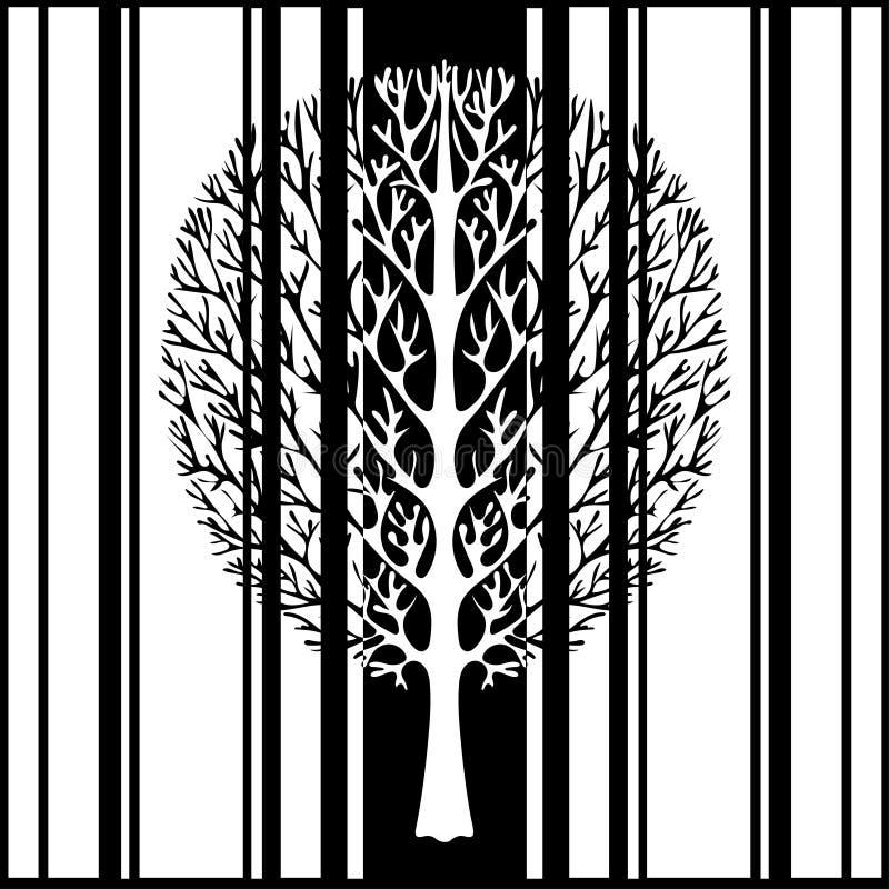 El árbol abstracto, ejemplo del vector, vintage estilizó el dibujo monocromático Árbol adornado con las ramas contra la perspecti ilustración del vector