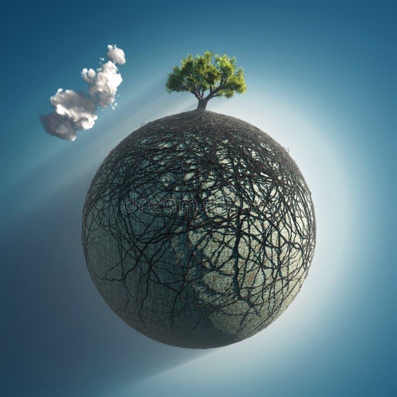 El árbol arraiga el recubrimiento del planeta foto de archivo libre de regalías