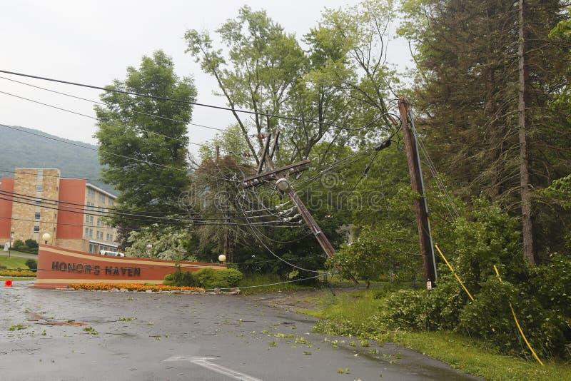 El árbol caido dañó líneas eléctricas tras el tiempo severo y el tornado en el condado de Ulster, Nueva York imagen de archivo libre de regalías