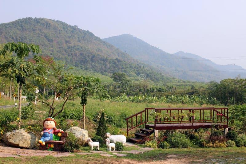 El árbol cubrió las montañas detrás de un jardín decorativo en Rayong, Tailandia imagenes de archivo