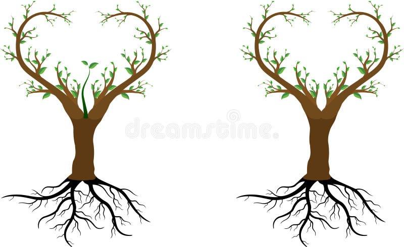 El árbol de amor nos ahorra stock de ilustración