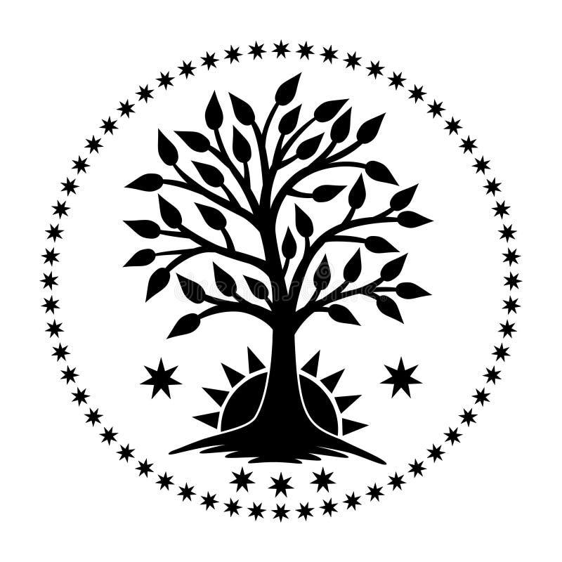 El árbol de la vida con el sol naciente en un círculo de estrellas Cuadro del vector ilustración del vector