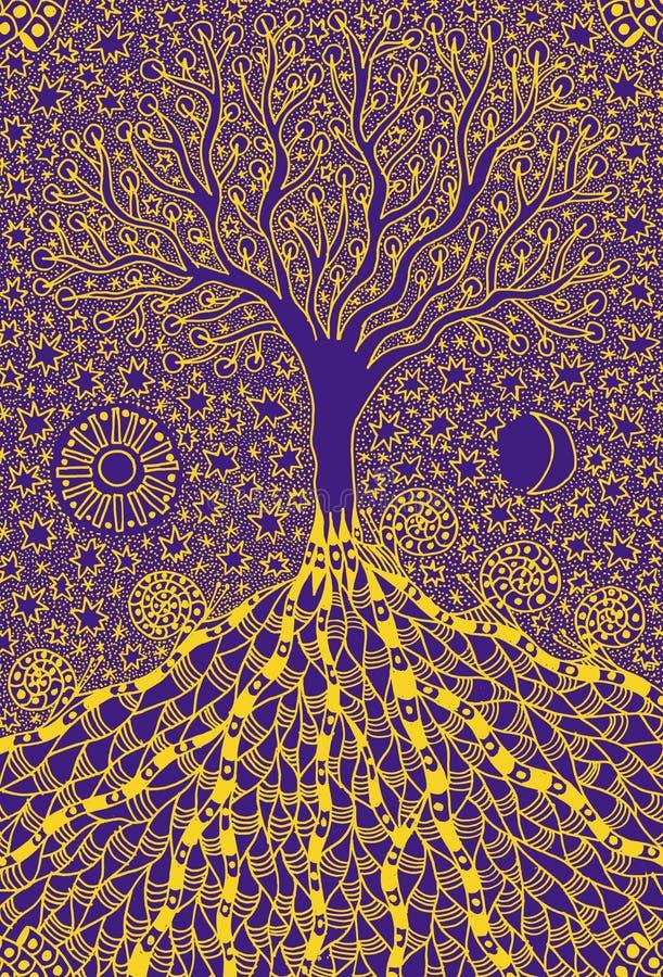 El árbol de la vida Imagen simbólica del arte gráfico Símbolo, metáfora de la vida y crecimiento ilustración del vector