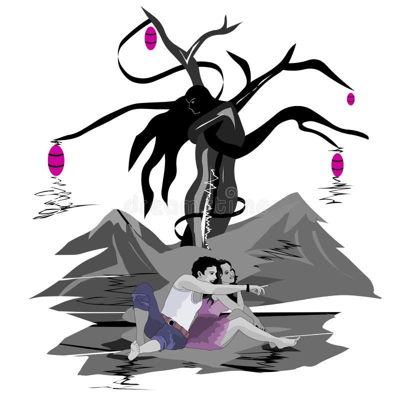 El árbol de los amantes, los amantes felices se relaja por el árbol stock de ilustración