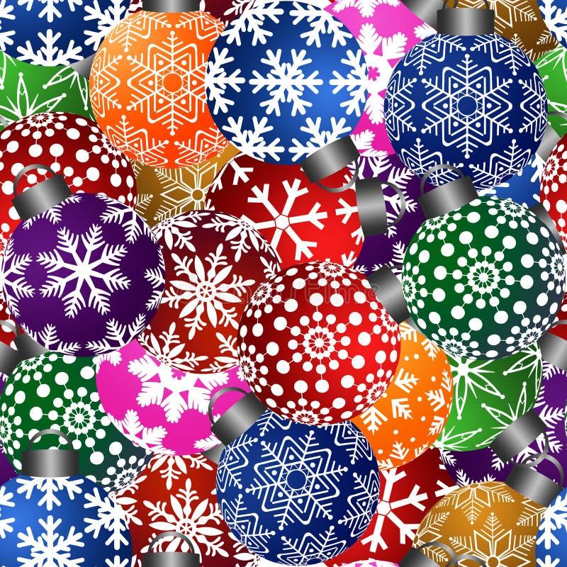 El árbol de navidad adorna el fondo inconsútil del azulejo stock de ilustración