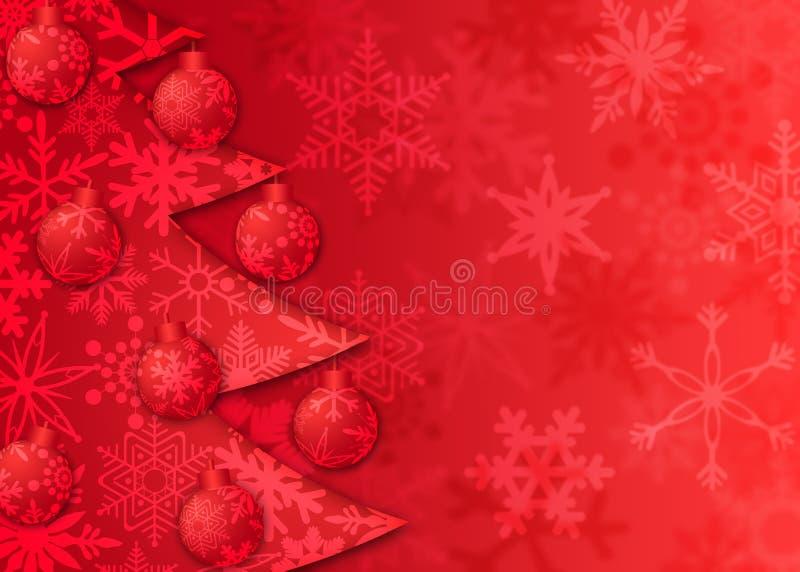El árbol de navidad adorna el modelo de los copos de nieve stock de ilustración