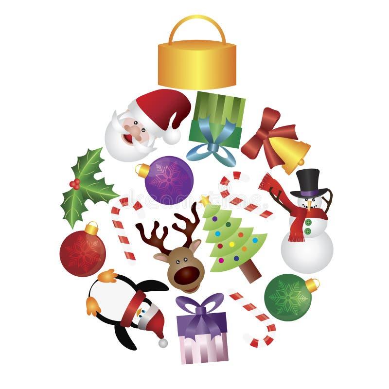 El árbol de navidad adorna la ilustración del collage stock de ilustración